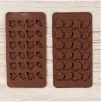 """Силиконовая форма для шоколада и карамели """"Листья ассорти"""""""