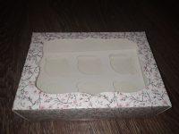 Коробка для кексов на( 6штук )с окошком цветы,250*170*90